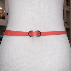 Fossil Skinny Belt - Leather in Hot Coral Size M/L